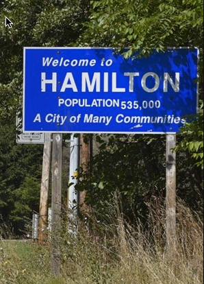 city sign in Hamilton