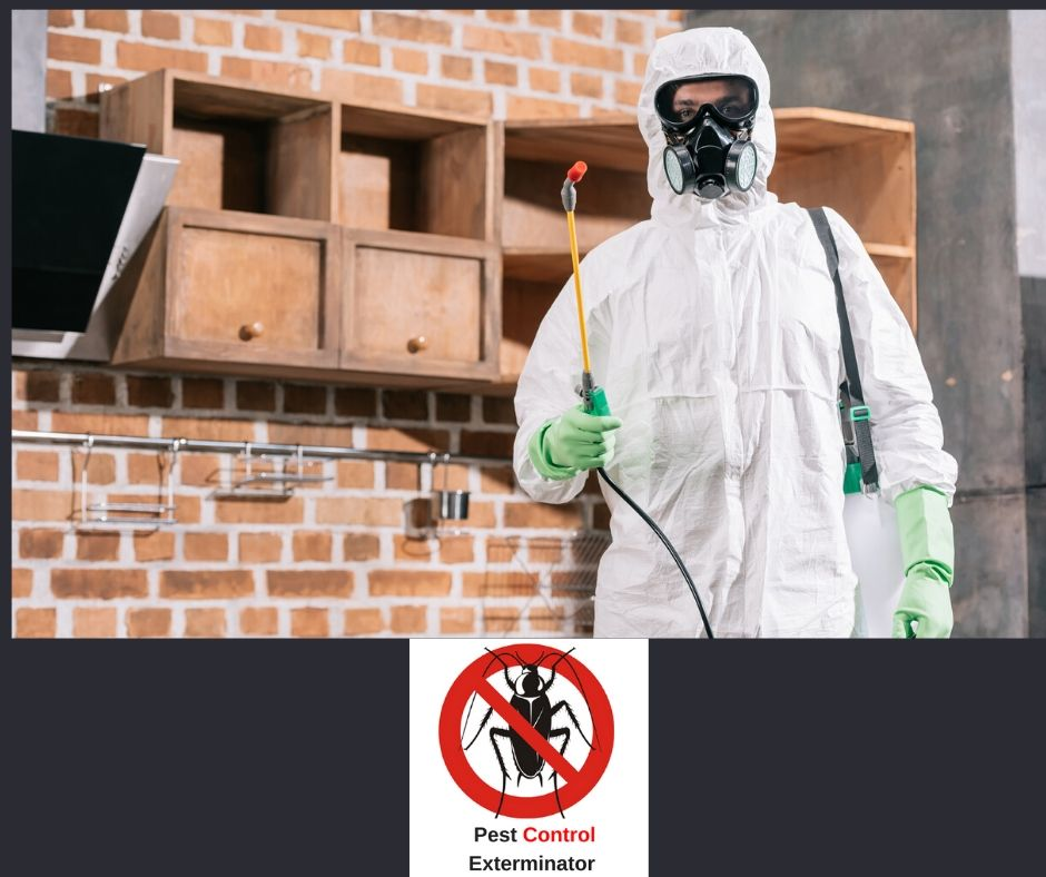 exterminator in white suit with Pest Control Exterminate logo on bottom